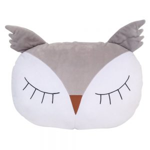 Sleepy Owl Pillow in Grey/White