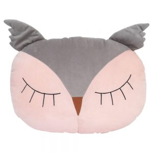 Sleepy Owl Pillow in Grey/Blush
