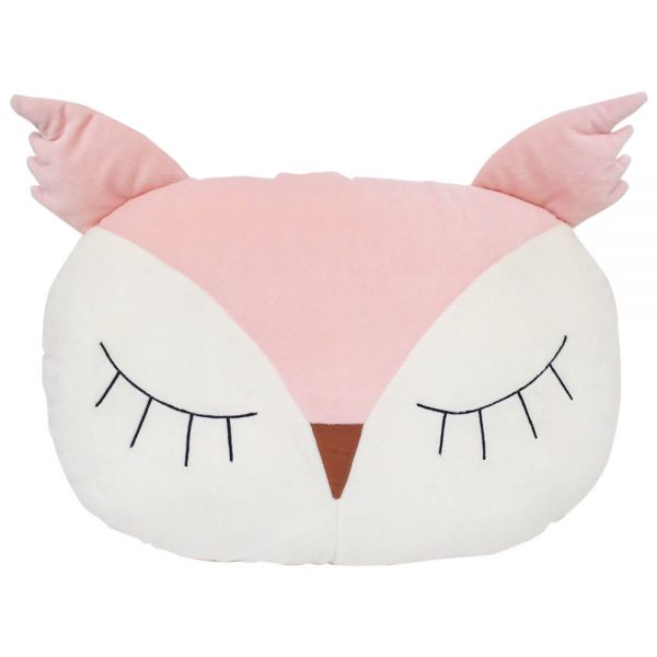 Sleepy Owl Pillow in Blush/Ivory